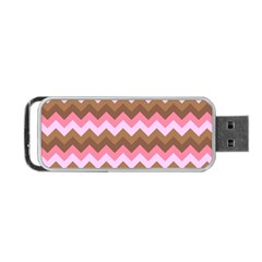 Shades Of Pink And Brown Retro Zigzag Chevron Pattern Portable Usb Flash (one Side) by Nexatart