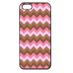Shades Of Pink And Brown Retro Zigzag Chevron Pattern Apple Iphone 5 Seamless Case (black) by Nexatart