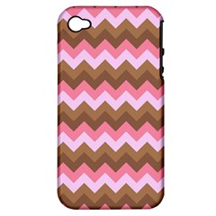 Shades Of Pink And Brown Retro Zigzag Chevron Pattern Apple Iphone 4/4s Hardshell Case (pc+silicone)