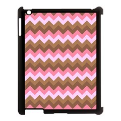 Shades Of Pink And Brown Retro Zigzag Chevron Pattern Apple Ipad 3/4 Case (black) by Nexatart