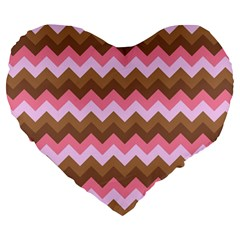 Shades Of Pink And Brown Retro Zigzag Chevron Pattern Large 19  Premium Heart Shape Cushions by Nexatart