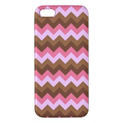 Shades Of Pink And Brown Retro Zigzag Chevron Pattern Apple Iphone 5 Premium Hardshell Case by Nexatart