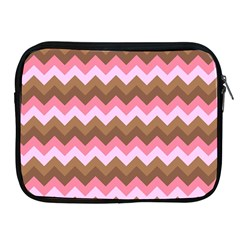 Shades Of Pink And Brown Retro Zigzag Chevron Pattern Apple Ipad 2/3/4 Zipper Cases