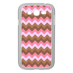 Shades Of Pink And Brown Retro Zigzag Chevron Pattern Samsung Galaxy Grand Duos I9082 Case (white) by Nexatart