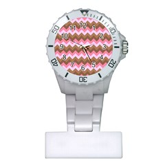Shades Of Pink And Brown Retro Zigzag Chevron Pattern Plastic Nurses Watch