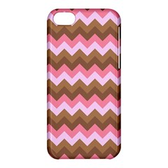 Shades Of Pink And Brown Retro Zigzag Chevron Pattern Apple Iphone 5c Hardshell Case by Nexatart