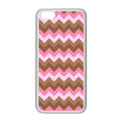 Shades Of Pink And Brown Retro Zigzag Chevron Pattern Apple Iphone 5c Seamless Case (white) by Nexatart