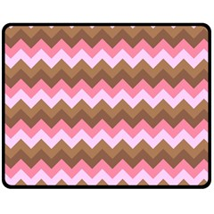 Shades Of Pink And Brown Retro Zigzag Chevron Pattern Double Sided Fleece Blanket (medium)
