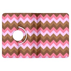 Shades Of Pink And Brown Retro Zigzag Chevron Pattern Kindle Fire Hdx Flip 360 Case by Nexatart