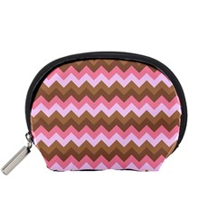 Shades Of Pink And Brown Retro Zigzag Chevron Pattern Accessory Pouches (small)  by Nexatart