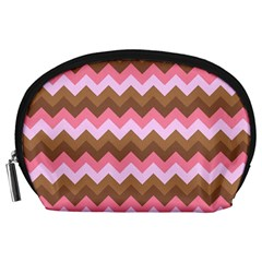 Shades Of Pink And Brown Retro Zigzag Chevron Pattern Accessory Pouches (large)  by Nexatart