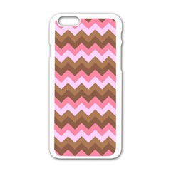 Shades Of Pink And Brown Retro Zigzag Chevron Pattern Apple Iphone 6/6s White Enamel Case by Nexatart