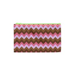 Shades Of Pink And Brown Retro Zigzag Chevron Pattern Cosmetic Bag (xs) by Nexatart