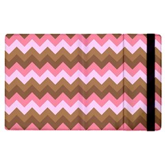Shades Of Pink And Brown Retro Zigzag Chevron Pattern Apple Ipad Pro 9 7   Flip Case by Nexatart