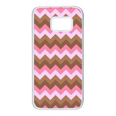 Shades Of Pink And Brown Retro Zigzag Chevron Pattern Samsung Galaxy S7 White Seamless Case