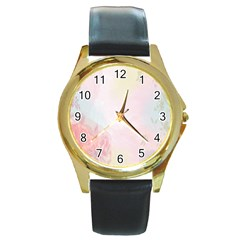 Watercolor Floral Round Gold Metal Watch by Nexatart