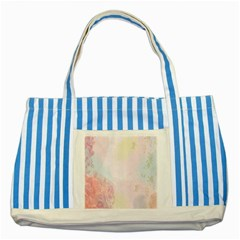 Watercolor Floral Striped Blue Tote Bag