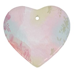 Watercolor Floral Heart Ornament (two Sides) by Nexatart