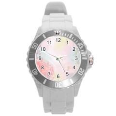 Watercolor Floral Round Plastic Sport Watch (l)