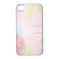 Watercolor Floral Apple Iphone 4/4s Hardshell Case With Stand