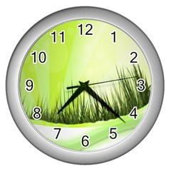 Green Background Wallpaper Texture Wall Clocks (silver)