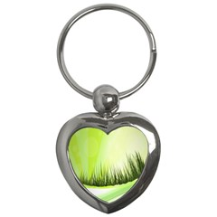 Green Background Wallpaper Texture Key Chains (heart)  by Nexatart
