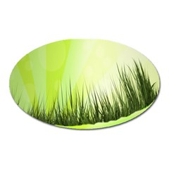 Green Background Wallpaper Texture Oval Magnet by Nexatart