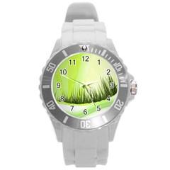 Green Background Wallpaper Texture Round Plastic Sport Watch (l) by Nexatart