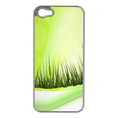 Green Background Wallpaper Texture Apple Iphone 5 Case (silver)