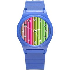 Vertical Blinds A Completely Seamless Tile Able Background Round Plastic Sport Watch (s) by Nexatart