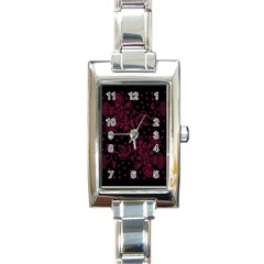 Pink Floral Pattern Background Rectangle Italian Charm Watch