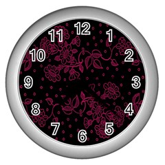 Pink Floral Pattern Background Wall Clocks (silver)  by Nexatart