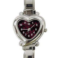 Pink Floral Pattern Background Heart Italian Charm Watch