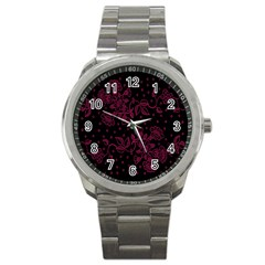 Pink Floral Pattern Background Sport Metal Watch by Nexatart