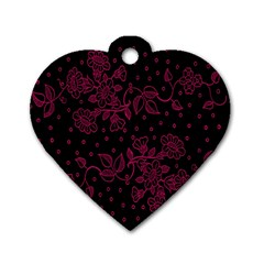 Pink Floral Pattern Background Dog Tag Heart (one Side) by Nexatart