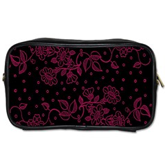 Pink Floral Pattern Background Toiletries Bags 2 Side by Nexatart
