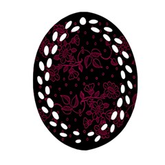 Pink Floral Pattern Background Oval Filigree Ornament (two Sides) by Nexatart