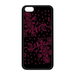 Pink Floral Pattern Background Apple Iphone 5c Seamless Case (black) by Nexatart