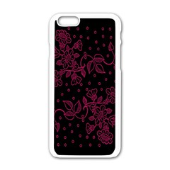 Pink Floral Pattern Background Apple Iphone 6/6s White Enamel Case by Nexatart