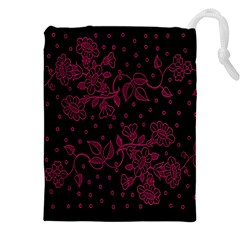 Pink Floral Pattern Background Drawstring Pouches (xxl)