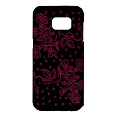 Pink Floral Pattern Background Samsung Galaxy S7 Edge Hardshell Case by Nexatart
