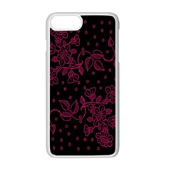Pink Floral Pattern Background Apple Iphone 7 Plus White Seamless Case by Nexatart