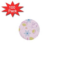 Pretty Summer Garden Floral Bird Pink Seamless Pattern 1  Mini Buttons (100 Pack)
