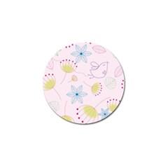 Pretty Summer Garden Floral Bird Pink Seamless Pattern Golf Ball Marker (10 Pack) by Nexatart