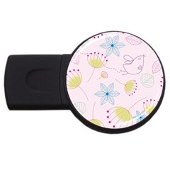 Pretty Summer Garden Floral Bird Pink Seamless Pattern Usb Flash Drive Round (2 Gb)