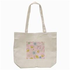 Pretty Summer Garden Floral Bird Pink Seamless Pattern Tote Bag (cream) by Nexatart