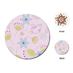 Pretty Summer Garden Floral Bird Pink Seamless Pattern Playing Cards (round)