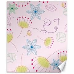 Pretty Summer Garden Floral Bird Pink Seamless Pattern Canvas 8  X 10  by Nexatart