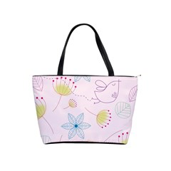 Pretty Summer Garden Floral Bird Pink Seamless Pattern Shoulder Handbags by Nexatart