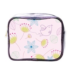 Pretty Summer Garden Floral Bird Pink Seamless Pattern Mini Toiletries Bags